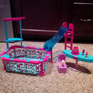 Barbie pool with slide, and birthday set