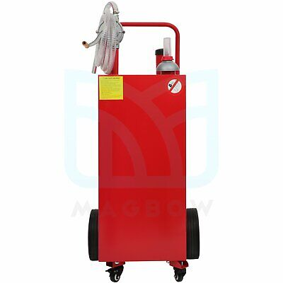 Gas Fuel Diesel Caddy Transfer Tank 30 Gal Container With Rotary Pump 8 Ft Hose