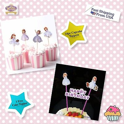 SOFIA THE FIRST COMBO    24pcs Cupcake topper +1 Cake Banner Topper set - Sofia The First Cupcake Cake