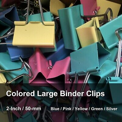 Large Binder Clips Mix Colored 2-inch Little Bit Scratch Paper Clips 6-16 -