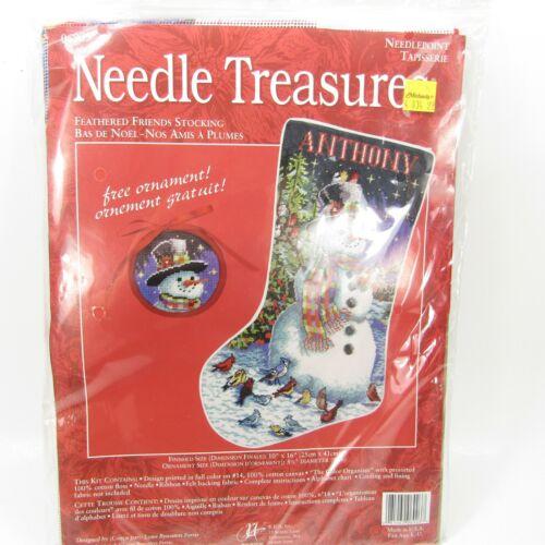 Needle Treasures Feathered Snowman Christmas Stocking Needlepoint Kit 06903 NEW