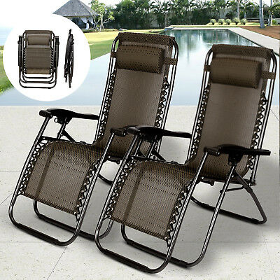 Zero Gravity Beach Chairs (2 PCS Zero Gravity Folding Lounge Beach Chairs Outdoor Recliner in Black)