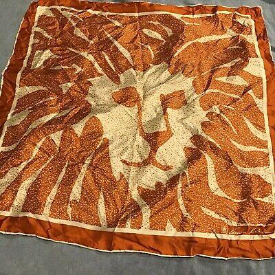 Anne Klein Vtg Silk Lion Head Logo Signed Scarf Orange Ivory 26 x 26 Hand Rolled