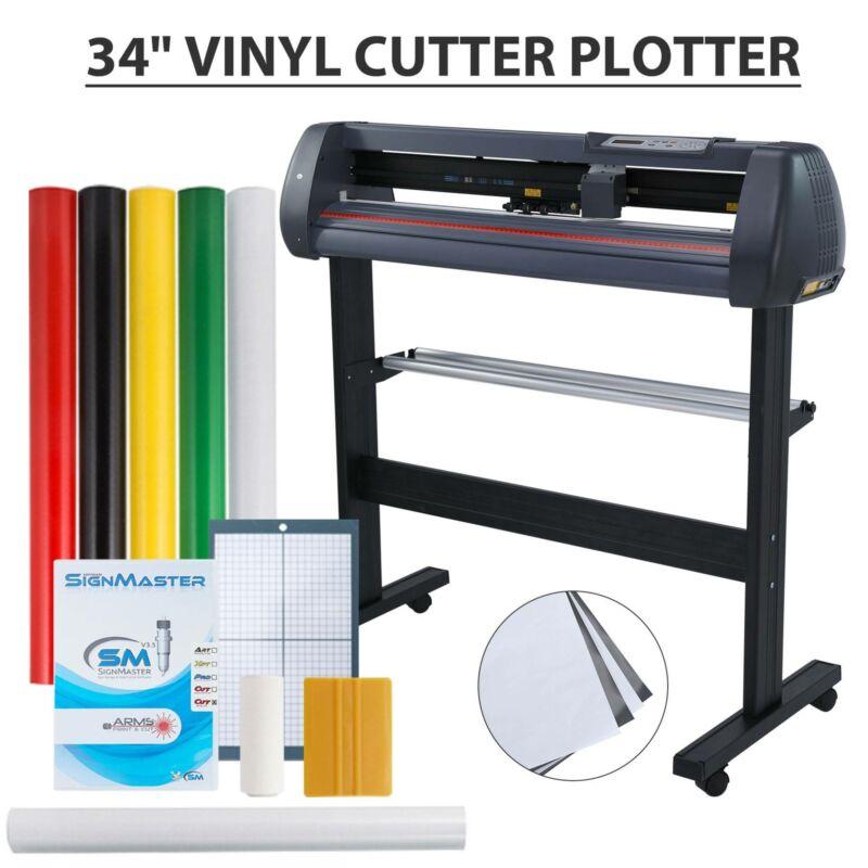 "34"" Vinyl Cutter Sign Plotter Cutting Paper Cut Printer w/ 3"