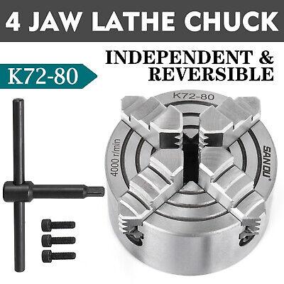 """Lathe Chuck K72-80 3"""" 4 Jaw Independent External Jaw Interna"""