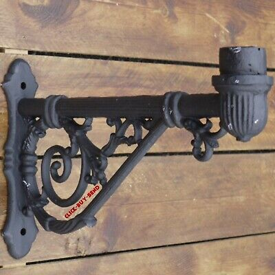 ANTIQUE STYLE BLACK ORNATE WALL MOUNTABLE MOUNTED BRACKET FOR VICTORIAN LANTERN