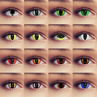 Cat eye costume contacts green white blue colored dragon lenses for halloween