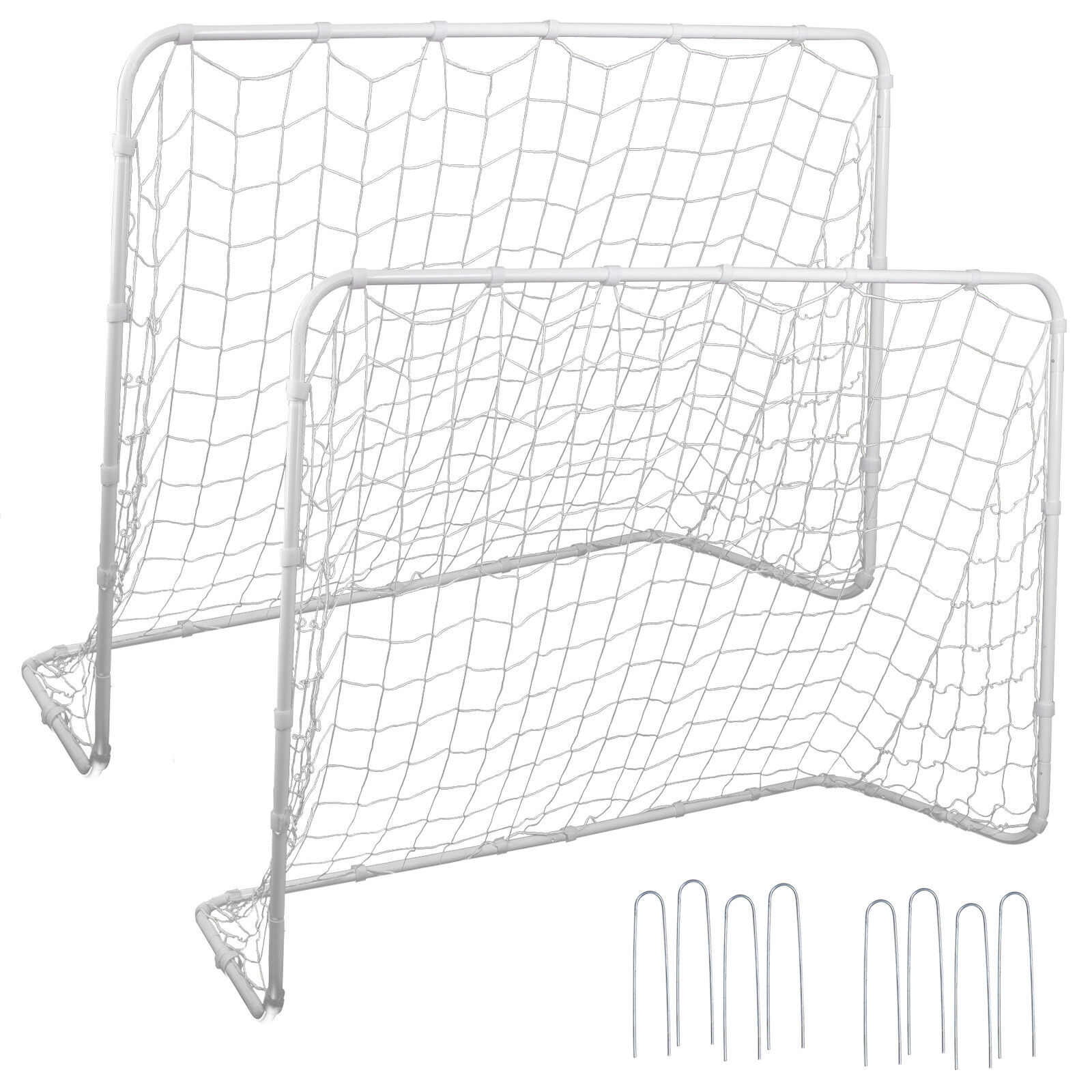 6×4 FT Portable Youth Size Steel Frame 2 Pack Soccer Goal Football w/Durable Net Goals & Nets