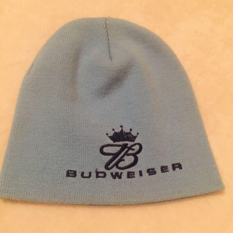 Budweiser Beer Beanie Hat Cap, Embroidered Light Blue