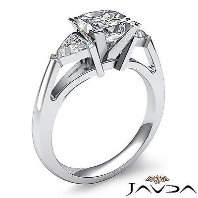 Trillion Cut 3 Stone Princess Diamond Engagement Ring GIA Certified I SI1 1.8 Ct 1