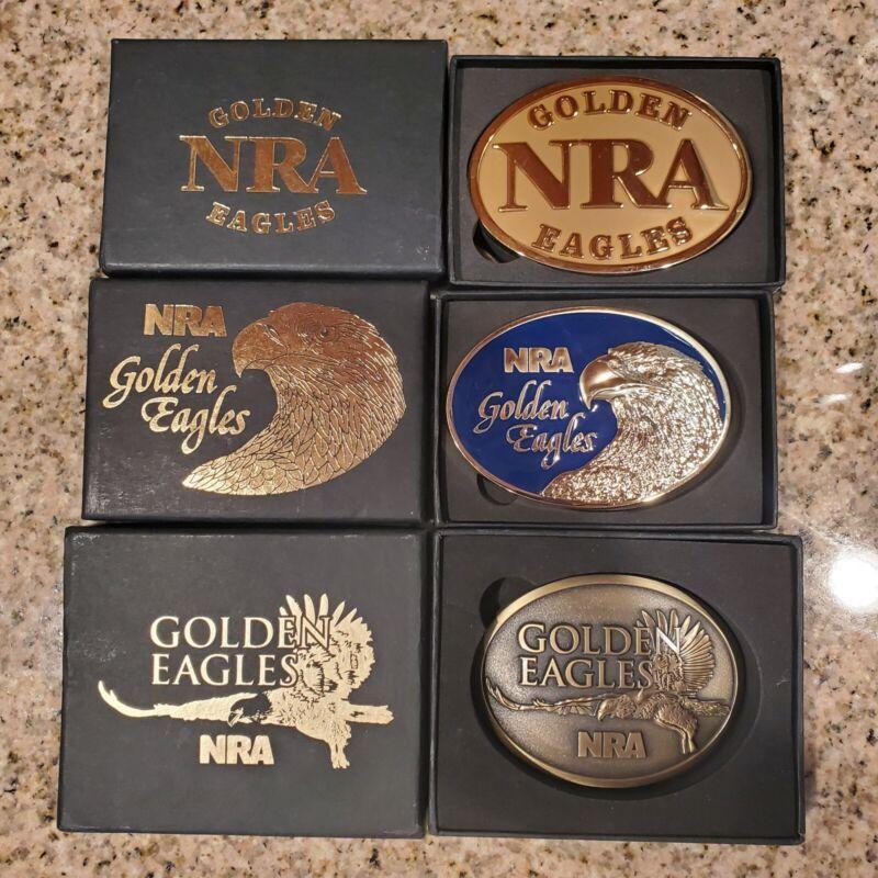 NRA Golden Eagle Belt Buckles + NRA Knife + NRA Hats