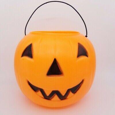 Vintage Halloween Blow Mold Grinning Jack-o-lanter Pumpkin Trick-or-treat Bucket