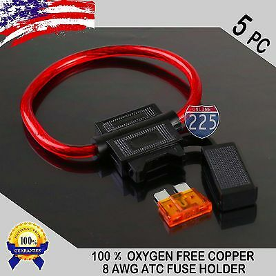 Waterproof 40a Fuse Holder - 5 Pack 8GA. Gauge ATC In-Line Blade Fuse Holder 100% OFC Copper Wire + 1A - 40A