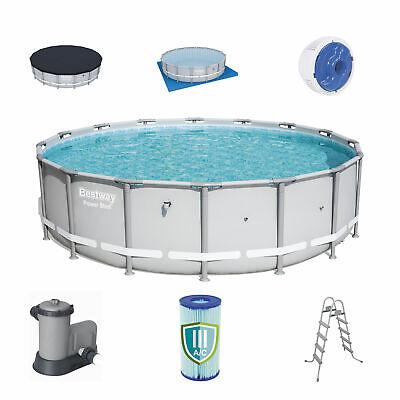 Bestway 18 x 4.3 ft Reinforced Power Steel Frame Above Ground Swimming Pool Set Above Ground Swimming Pool