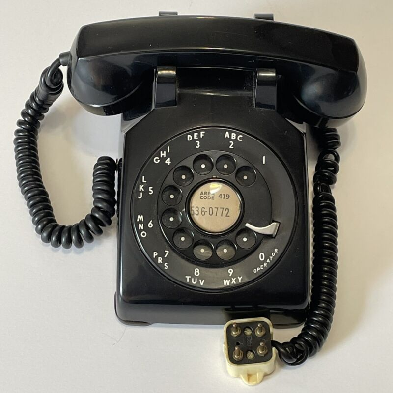 VTG Bell System Desk Telephone G3 Black Metal Rotary Dial by Western Electric
