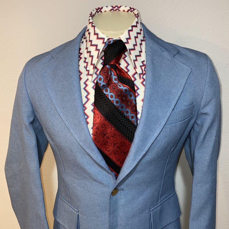 LEVIS PANATELA Suit Jacket Blazer Sport Coat VTG 70s Disco Leisure Blue MENS 38