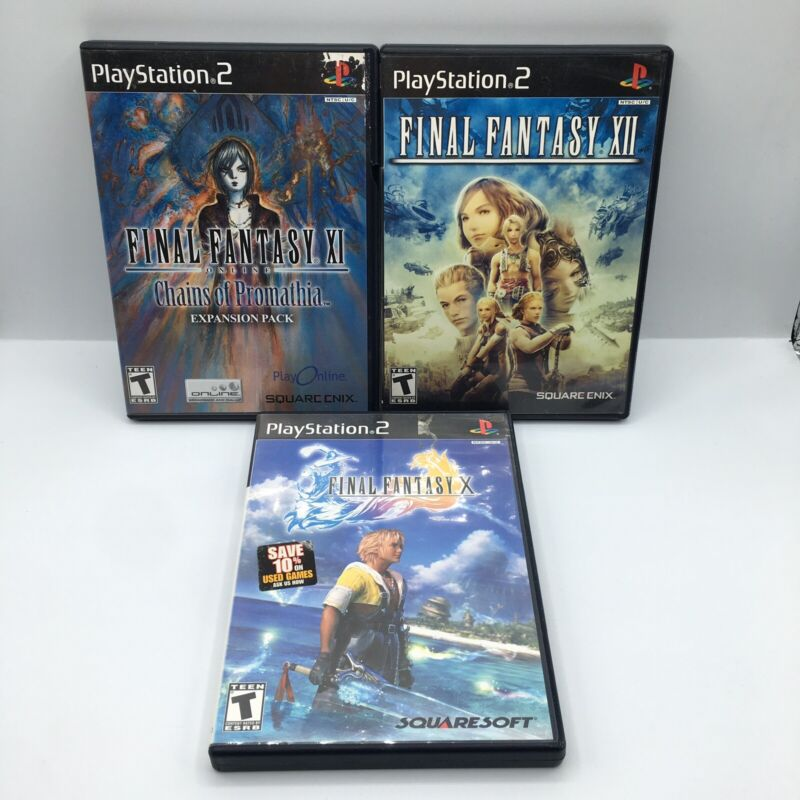 Final Fantasy XII, X, & XI Online Chains Of Promathia PS2 Bundle Complete Tested