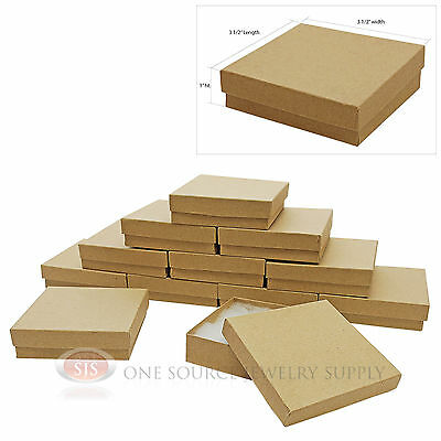 """12 Gift Boxes Cotton Filled Kraft Jewelry Box 3 1/2"""" x 3 1/2"""" x1"""" Packaging"""