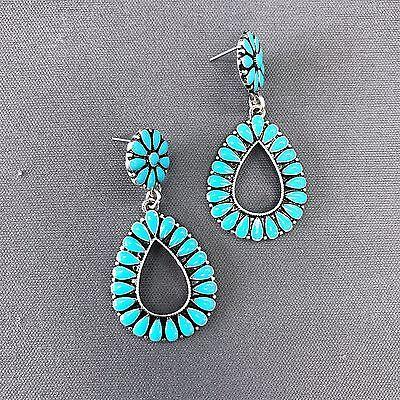 Teardrop Shape Earrings (Turquoise Color Flower Petal Design Teardrop Shape Drop Dangle Post Earrings )
