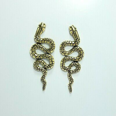 E0195 Antique Gold Color Metal Animal Snake Crawl Shape Long Drop Post Earrings Antique Gold Metal Bead