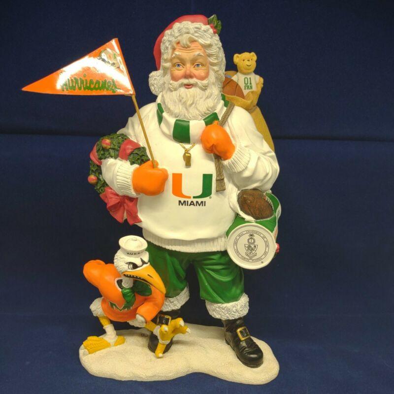 "Danbury Mint   Miami Hurricanes 9"" Santa Christmas Resin Holiday"