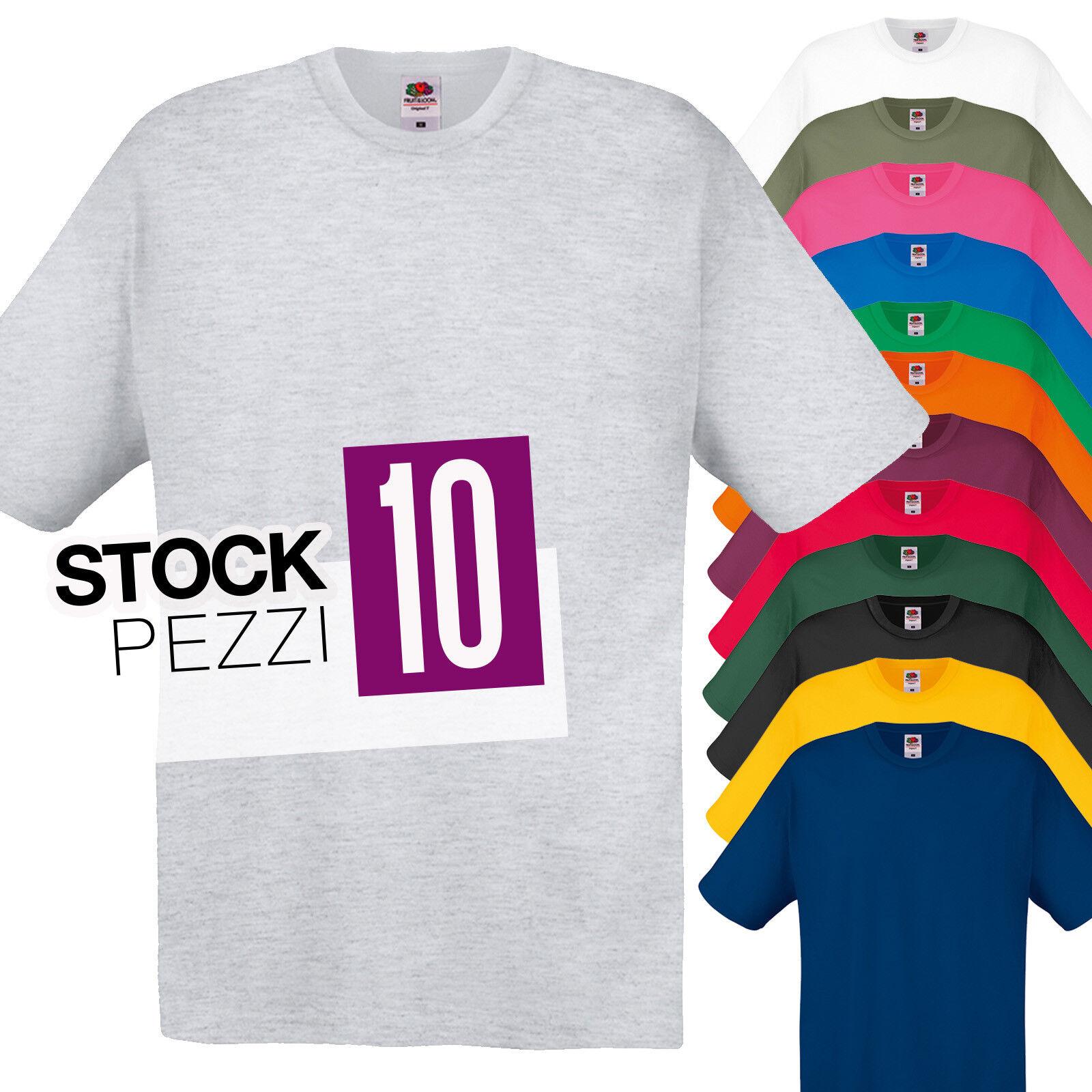 ... Pacco 10 T-Shirt Da Stampare Lavoro Stock Uomo Maglie Cotone Fruit of  The Loom ... 183a9e4d9a7e