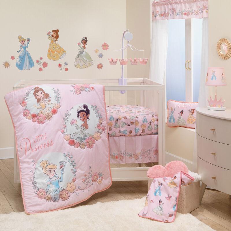 Lambs & Ivy Disney Princesses 3-Piece Nursery Baby Crib Bedding Set - Pink