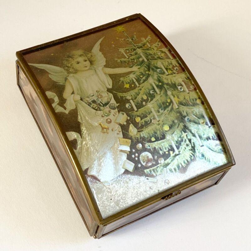 VTG Angel Cherub Christmas Foil Footed Glass Mirrored Trinket Box Via Vermont