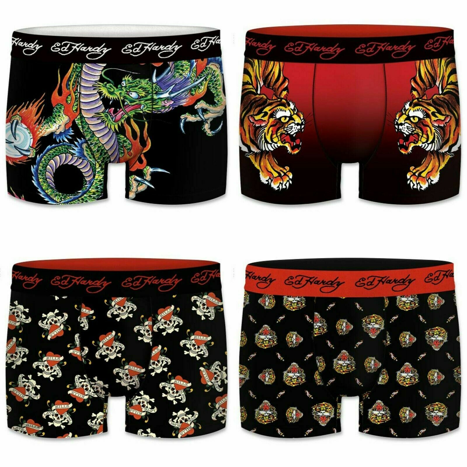 Ed Hardy 4Stk. Boxershorts Tattoo Design in S-XXL, Retroshorts, Unterhosen