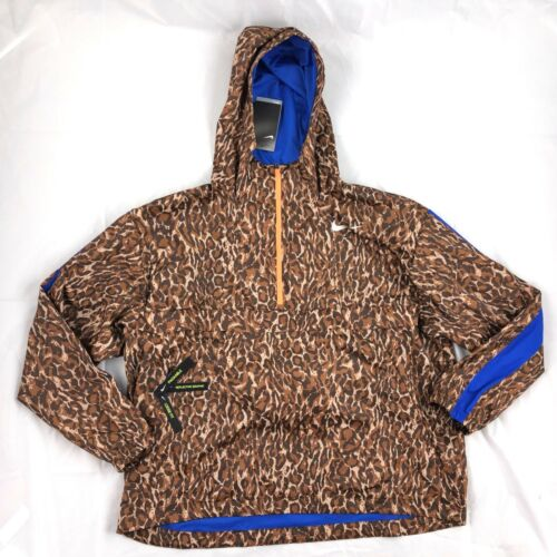 Nike Repel Anorak Running Track Jacket Cheetah Brown Blue BQ8185-786 Men