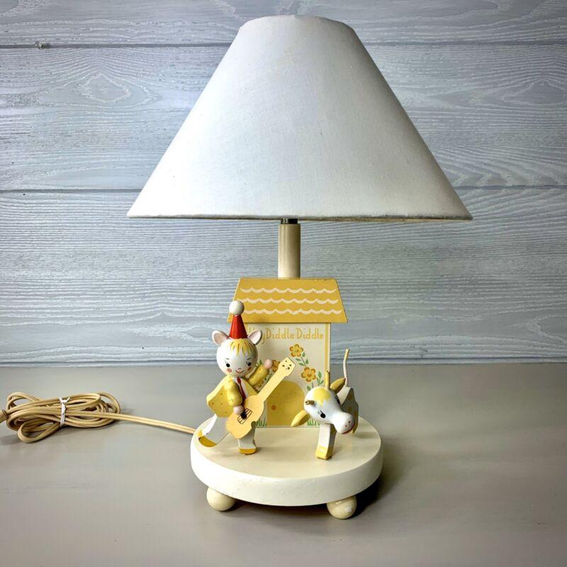 """Vintage """"Hey Diddle Diddle"""" Nursery Plastics Inc. Night Light Table Lamp"""