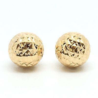 18K Solid Yellow Gold 8mm Diamond Cut Ball Stud Earrings.
