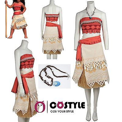 Adult Moana Princess Dress Halloween Party Fancy Ball COS Costumes Full Set USA - Halloween Costume Sets