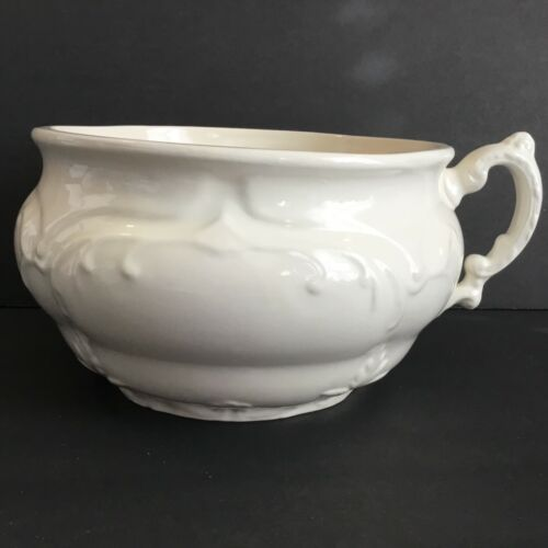 Chamber Pot Off White Stoneware Ironstone