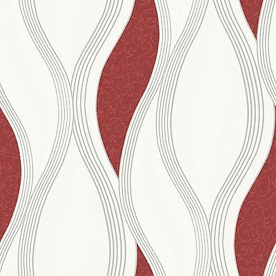 WAVE EMBOSSED TEXTURED WALLPAPER - RED - E62010 UGEPA