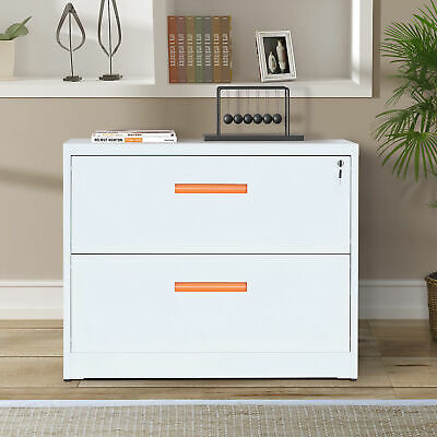 35l Metal Lateral File Cabinet With Lockdrawers Orange And White