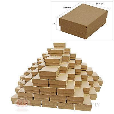 "100 Brown Kraft Cotton Filled Jewelry Gift Boxes 3 1/4"" X 2 1/4"" Bracelet Box"