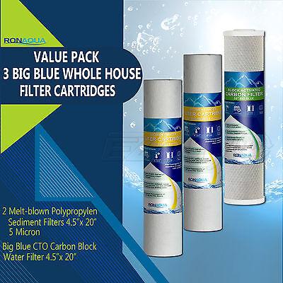 """Big Blue CTO Carbon Block & 2 Sediment Water Filters 4.5"""" x 20"""" Cartridges Set"""