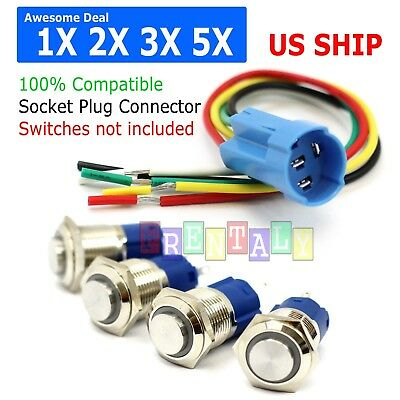 Lot 5x Socket Plug Wire Connector 16mm Push Button Latching Switch 5pin 1no 1nc