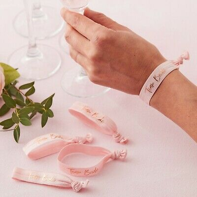 TEAM BRIDE WRIST BANDS x 5 - HEN PARTY GOODY BAG FILLER](Team Bride Wristbands)