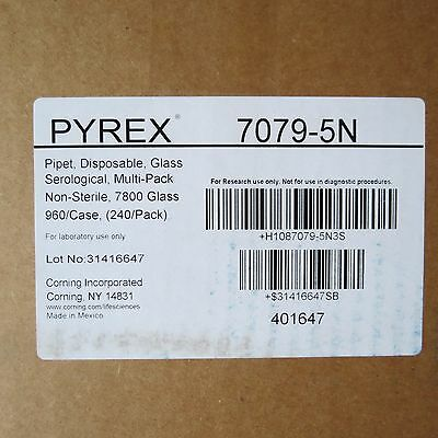 Case 960 Pyrex 5ml Glass Serological Pipets Unplugged 5 X 0.1ml 7079-5n Pipettes