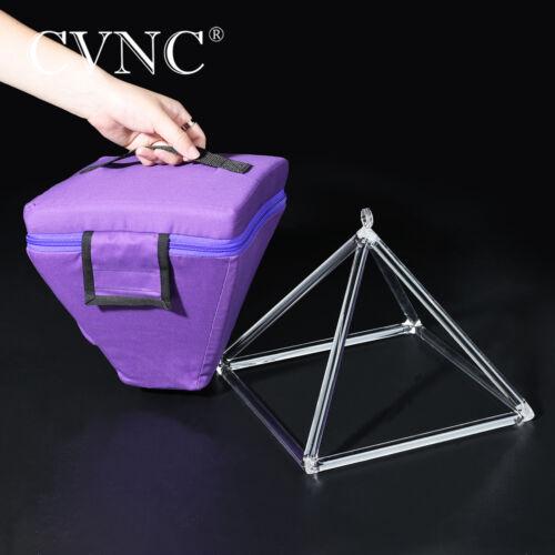 CVNC 10 Inch Quartz Clear Crystal Singing Pyramid Bowl Traveling Carry Bag Case