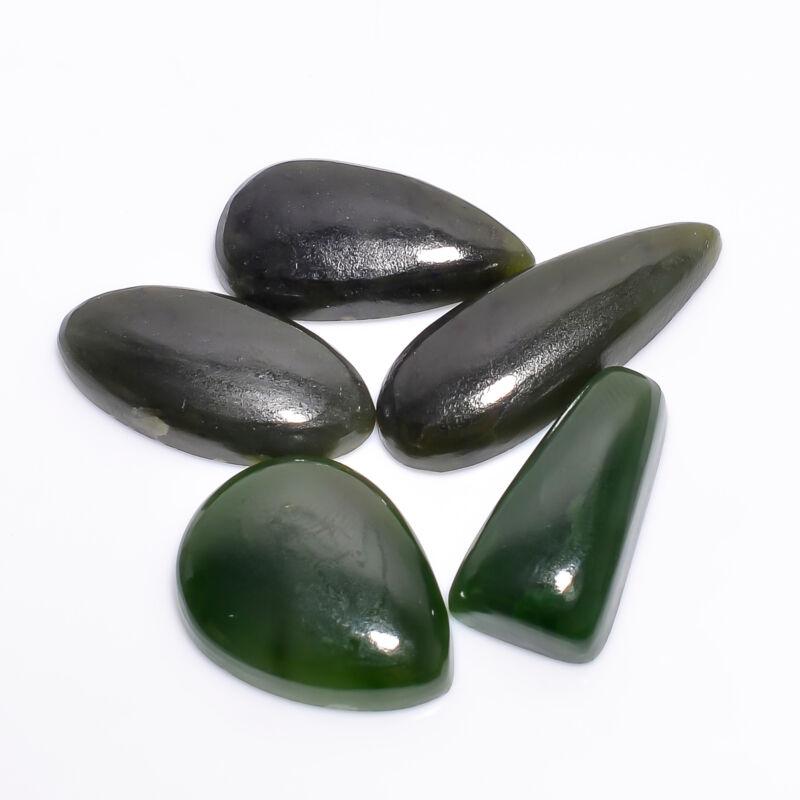 AAA 100% Natural Nephrite Jade Mix Shape Cabochon Loose Gemstone 5 Pcs Lot 64 Ct