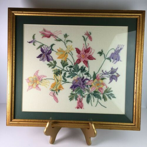 Handmade Cross Stitch Floral Framed Picture Columbine 17x19 inches