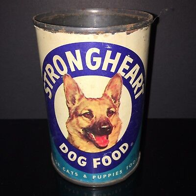 BEST IN SHOW! Strong heart 1970s Dog Food Tin Can GERMAN SHEPARD Paper Label