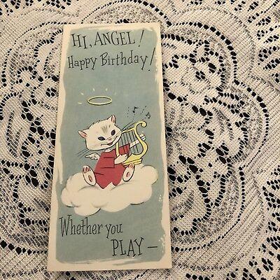 Vintage Greeting Card Birthday Kitten Cat Angel Cloud Harp Angel Cat Greeting Card