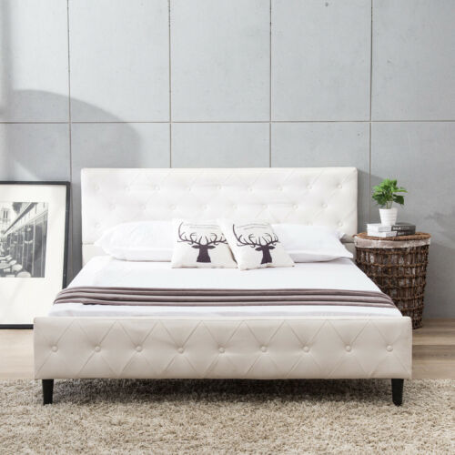 Queen Size Metal Bed Frame with Upholstered Platform Button
