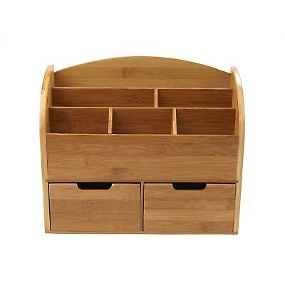 Mind Reader 6 Compartment Desk Organizer With 2 Drawers Brown