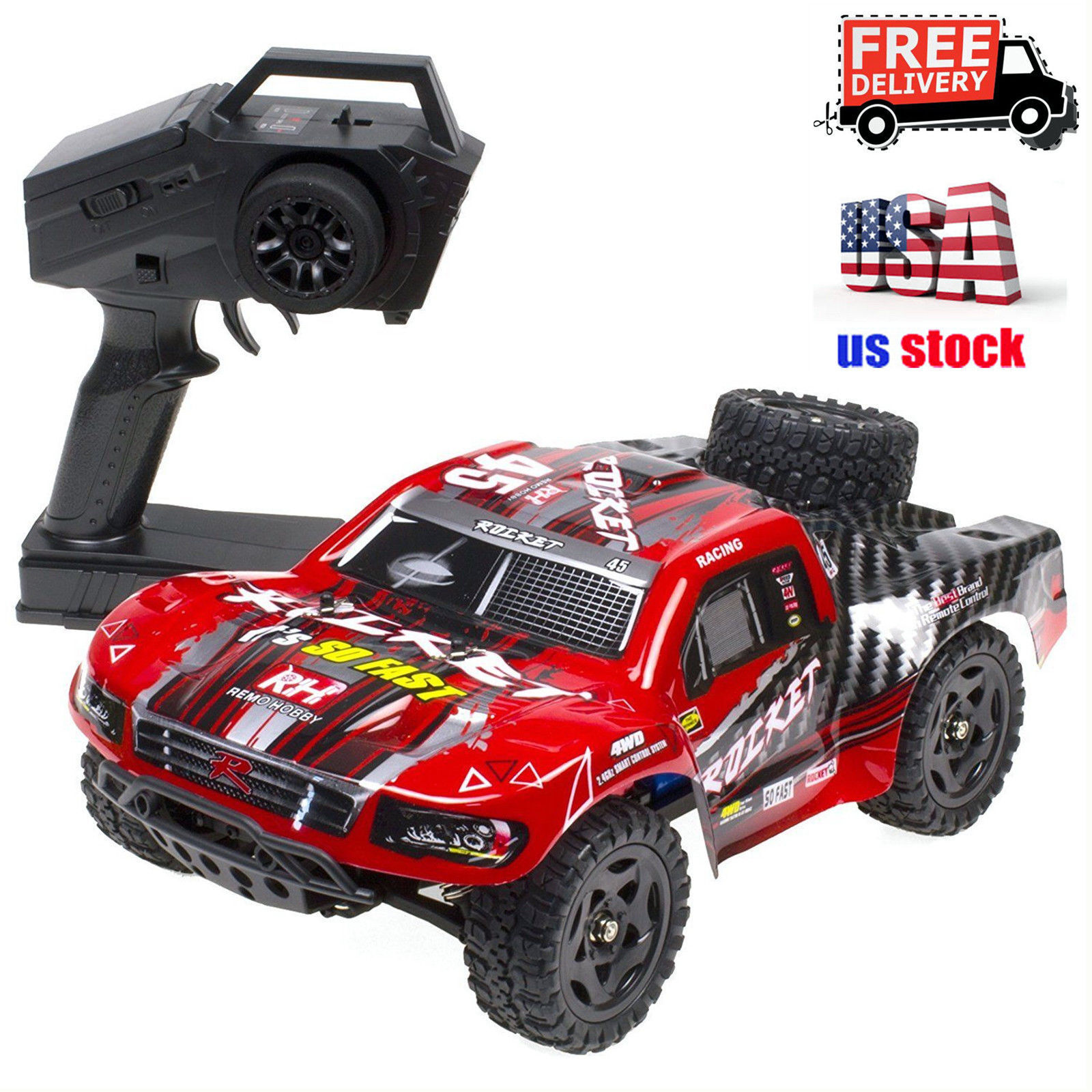 Купить REMO 1/16 RC Truck Car 50KM/h 2.4G 4WD Waterproof Brushed Short Course SUV 1621