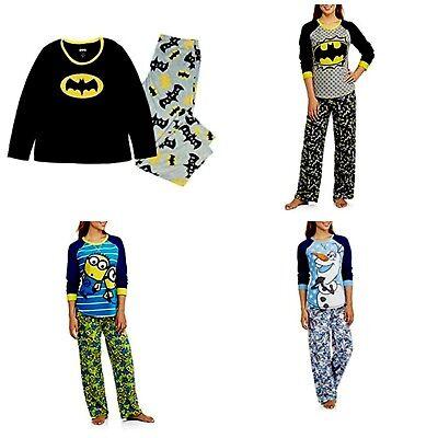 Women's 2-Piece Fleece Pajama Set  Minion  Frozen Olaf  Batman  Batgirl (Womens Minion Pajamas)